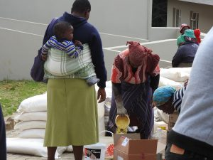 Supplies being distributed at St Denis clinic.